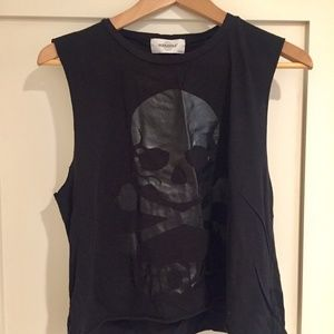 Soulcycle cropped skull tank